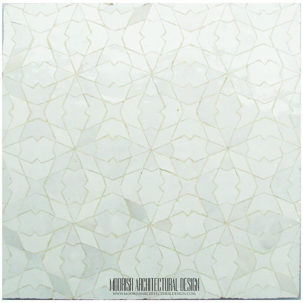 . Moroccan White mosaic tile kitchen
