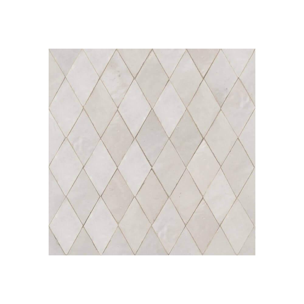 White Moroccan Shower Tile White Zellige Bathroom Tile