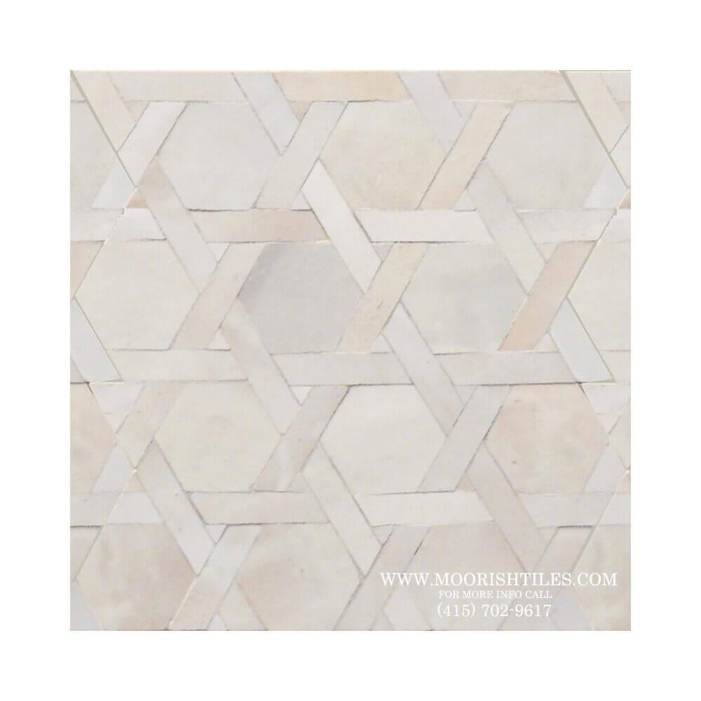 Moroccan Tile | White Zellige bathroom floor tile