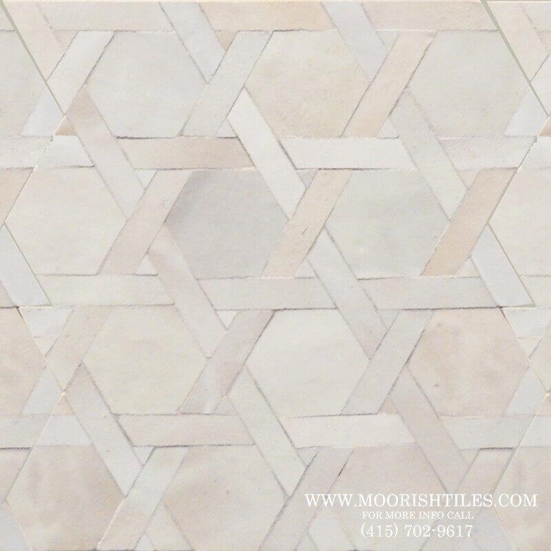 White Moorish shower tile
