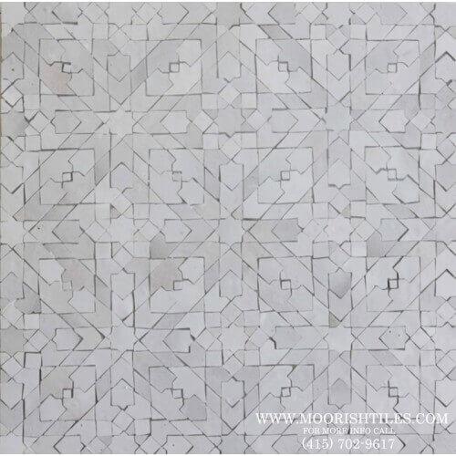 White Moroccan Mosaic Zellige