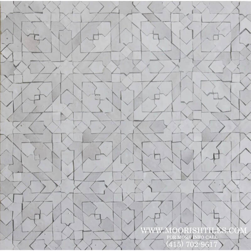 White Moroccan Mosaic Zellige