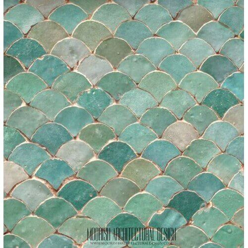 Pearl Green Fish Scales Tile