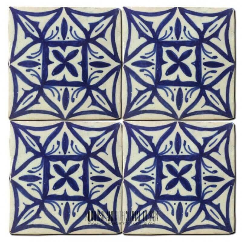 Blue Mediterranean Kitchen Ceramic Tile 4x4 Home Kitchen