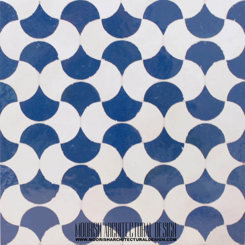 Blue & White Fish Scales Zellige