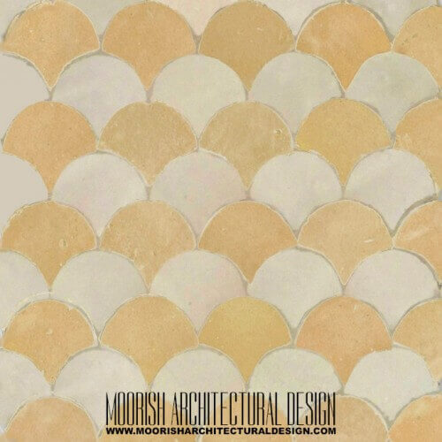 Tan White Fish Scales Tile
