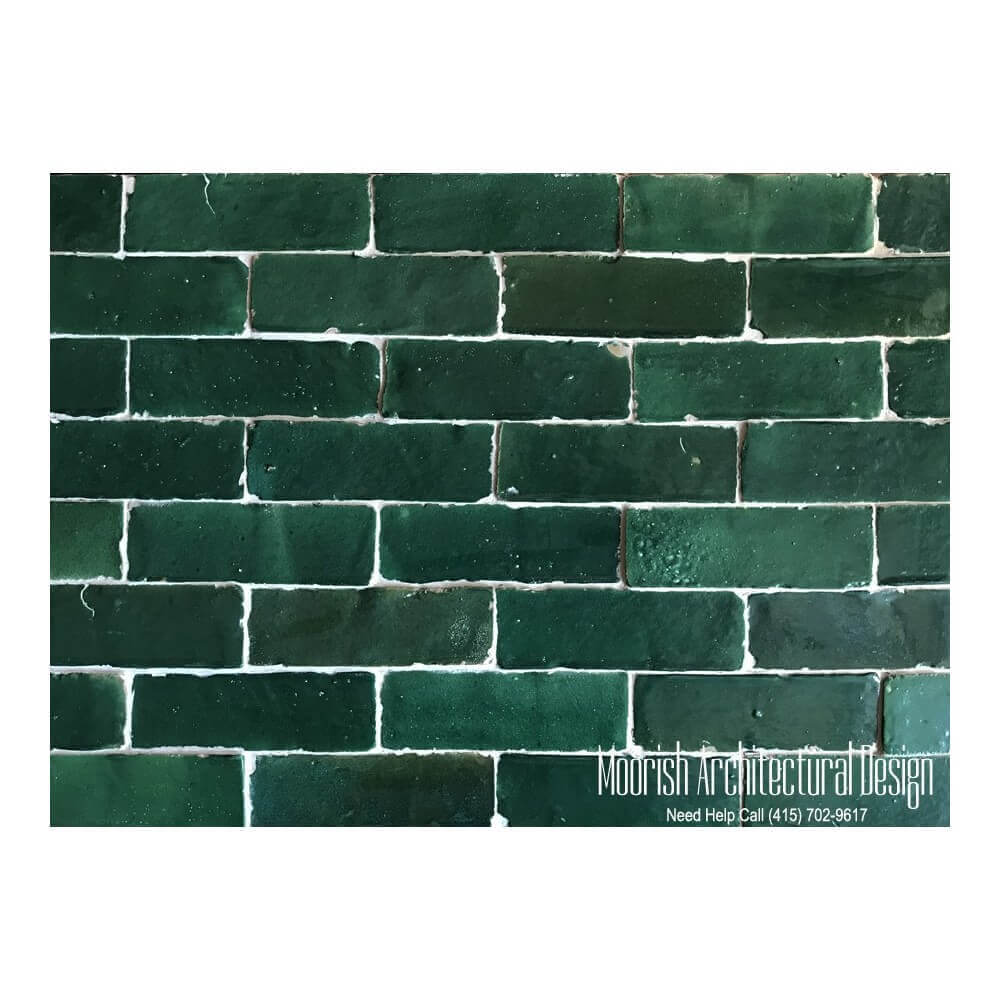 "2""x6"" Green Moroccan Subway tiles zellige"